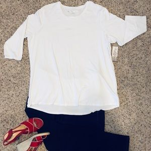 🌷Como Vintage White Elbow Sleeve Tee 3X
